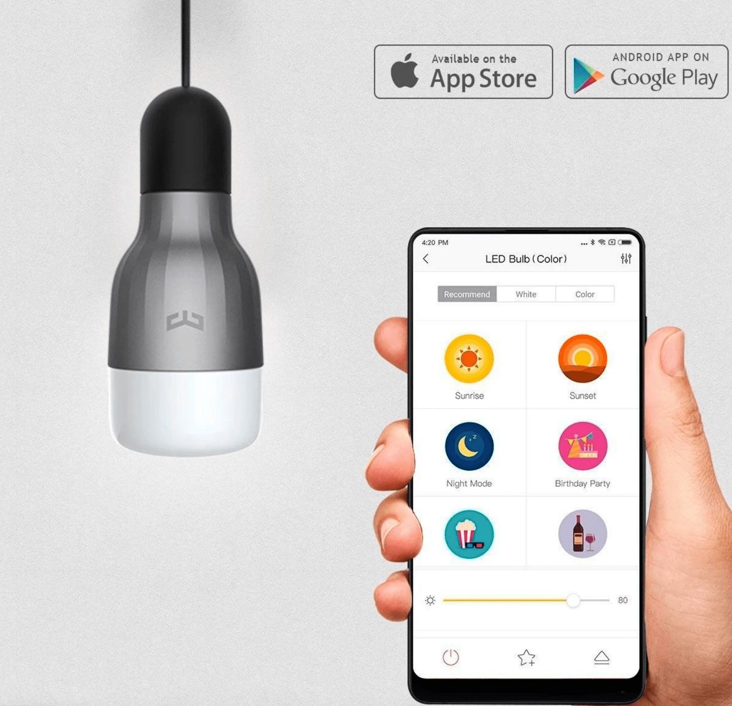 Lâmpada Xiaomi Mi LED Smart Bulb RGB a ser controla pela app no smartwatch