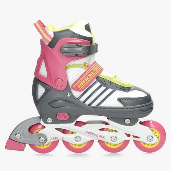 patins de criança cor de rosa de 4 rodas em linha da Sportzone