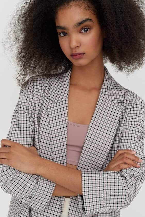 blazer padrão tweed da pull&bear